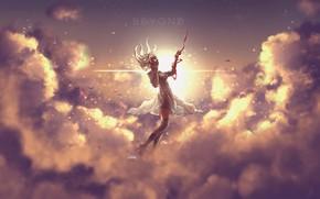 Картинка небо, девушка, облака