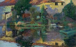 Картинка картина, городской пейзаж, Paul Madeline, Дом в Сентонже у Воды, Пол Медлин