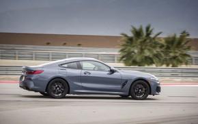 Картинка купе, скорость, BMW, вид сбоку, 2018, серо-синий, 8-Series, 2019, M850i xDrive, 8er, G15