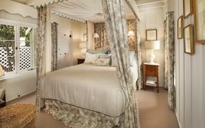 Картинка кровать, подушки, окно, спальня, светильники