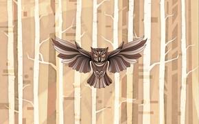 Картинка осень, лес, сова, крылья, owl, by Pyrus-acerba