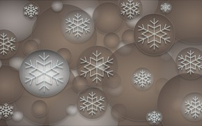 Картинка снежинки, фон, шары, текстура, украшение