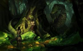 Картинка лес, люди, дракон, индейцы