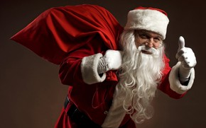 Картинка взгляд, красный, лицо, фон, праздник, новый год, рука, рождество, очки, палец, костюм, Санта, старик, борода, …