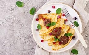 Картинка ягоды, шоколад, завтрак, блины, Timolina