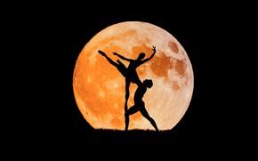 Обои силуэт, балет, танец, Луна