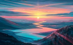 Картинка forest, river, sky, trees, landscape, nature, sunset, art, mountains, stars, birds, sun, digital art, artwork, …