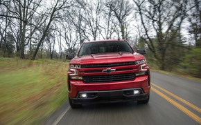 Картинка красный, Chevrolet, вид спереди, пикап, Silverado, 2019, RST
