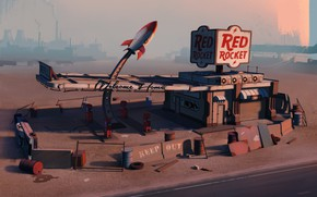 Картинка Fallout, Architecture, Gas Station, Post-apocalyptic, Environments, Red Rocket, by Edgaras Cernikas, Red Rocket Gas Station, …