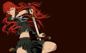 Картинка взгляд, девушка, меч, красные волосы, рваная одежда