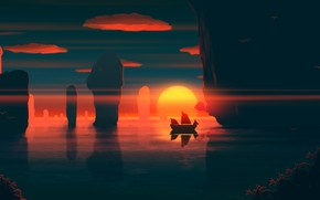 Картинка Закат, Солнце, Море, Горы, Восход, Скалы, Скала, Корабль, Азия, Fantasy, Пейзаж, Арт, Art, Landscape, Mountains, …
