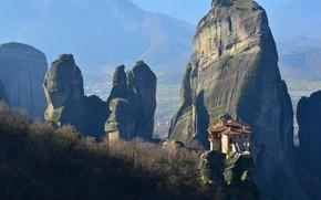 Картинка пейзаж, природа, скалы, Греция, монастырь, Метеоры, Метеора