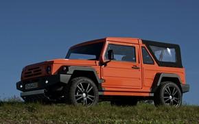 Картинка небо, трава, оранжевый, внедорожник, 2011, 4x4, Travec, Tecdrah Integrale 1.5 TTi, Renault/Dacia Duster, рамный