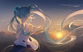 Картинка девушка, закат, Вокалоид, Хатсуне Мику