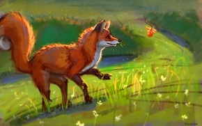 Картинка природа, листок, лиса, by Meorow
