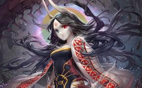Картинка девушка, демон, гетерохромия