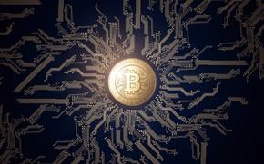 Обои валюта, money, Bitcoin, лого, монета, currency