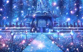 Картинка лес, девушка, ночь, ворота, фэнтези