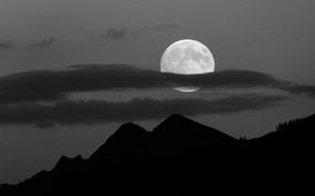 Картинка небо, облака, деревья, горы, ночь, природа, луна, полнолуние