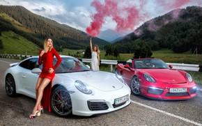 Картинка дорога, авто, взгляд, горы, Девушки, Porsche, красивые девушки, позируют над машинами
