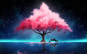 Картинка Отражение, Дерево, Ночь, Музыка, Звезды, Fantasy, Art, Concept Art, Hinkos Eigeiter, by Hinkos Eigeiter, Пианист, …