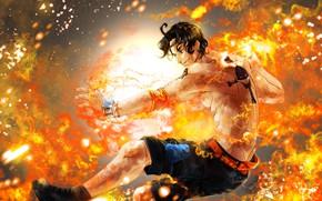 Картинка огонь, пламя, парень, One Piece