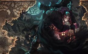 Картинка ночь, огонь, луна, гобелен, League Of Legends, Yorick