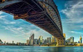 Картинка мост, здания, дома, Австралия, залив, Сидней, небоскрёбы, Australia, Sydney, Sydney Opera House, Сиднейский оперный театр, …
