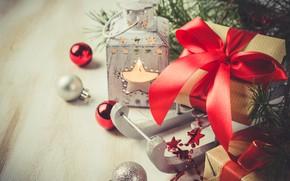 Картинка украшения, шары, Новый Год, Рождество, Christmas, balls, wood, New Year, decoration, xmas, gift box, Merry, …