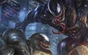 Картинка город, рисунок, арт, Веном, Venom, симбиоты