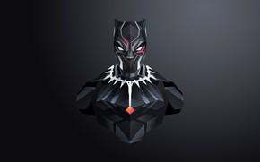 Картинка маска, арт, костюм, черный фон, комикс, MARVEL, Black Panther, Чёрная Пантера