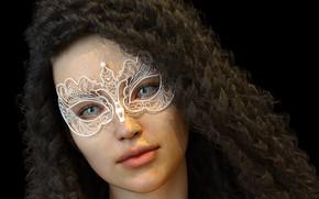 Картинка взгляд, девушка, маска