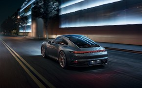 Картинка машина, свет, ночь, город, огни, фонари, спортивная, Porsche 911 Carrera S, 992, 2019