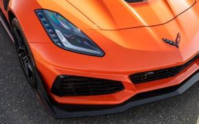 Картинка оранжевый, фара, Corvette, Chevrolet, ZR1, 2019