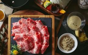Картинка мясо, нарезка, лапша