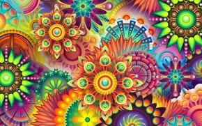 Картинка цветок, узор, краски, симметрия