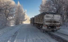 Картинка зима, дорога, автопоезд, фотоэтюд