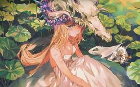 Картинка листья, девушка, пруд, дракон, череп, by Kanekiru