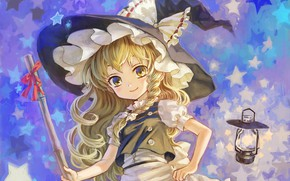 Картинка фонарь, звёздочки, метла, бант, косичка, оборки, шляпа ведьмы, ведьмочка, Touhou Project, Marisa Kirisame, Amatou, Проект …