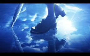 Картинка небо, девушка, отражение, зонт, лужи