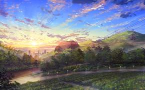 Картинка солнце, природа, город, канатная дорога, NIK