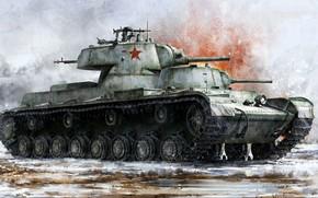 Картинка СМК, фронтовые испытания в ходе Финской войны, опытный советский тяжёлый танк, Сергей Миронович Киров