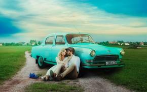 Картинка дорога, машина, авто, небо, девушка, цветы, природа, объятия, мужчина, влюбленные, Evgeny Dvoretckiy