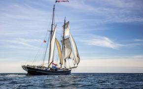 Картинка море, корабль, парусник, команда, паруса, экипаж, мачты, Netherland, под Голландским флагом