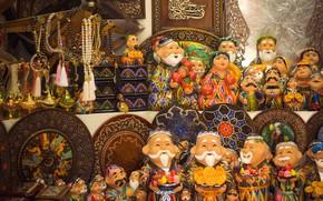 Картинка souvenirs, old city, national shop, uzbekistan, tashkent, ornament, east, wooden goods, babaychik
