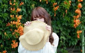 Картинка взгляд, девушка, милая, шляпа, азиатка