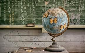 Картинка доска, глобус, клас