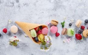 Картинка ягоды, colorful, flowers, fruit, berries, macaroons, macaron, макаруны