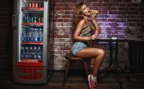 Обои girl, wall, coca-cola, shorts, legs, brown hair, photo, photographer, bricks, food, model, chair, bokeh, face, ...