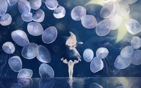 Картинка вода, ночь, фэнтези, медузы, девочка, ведьма